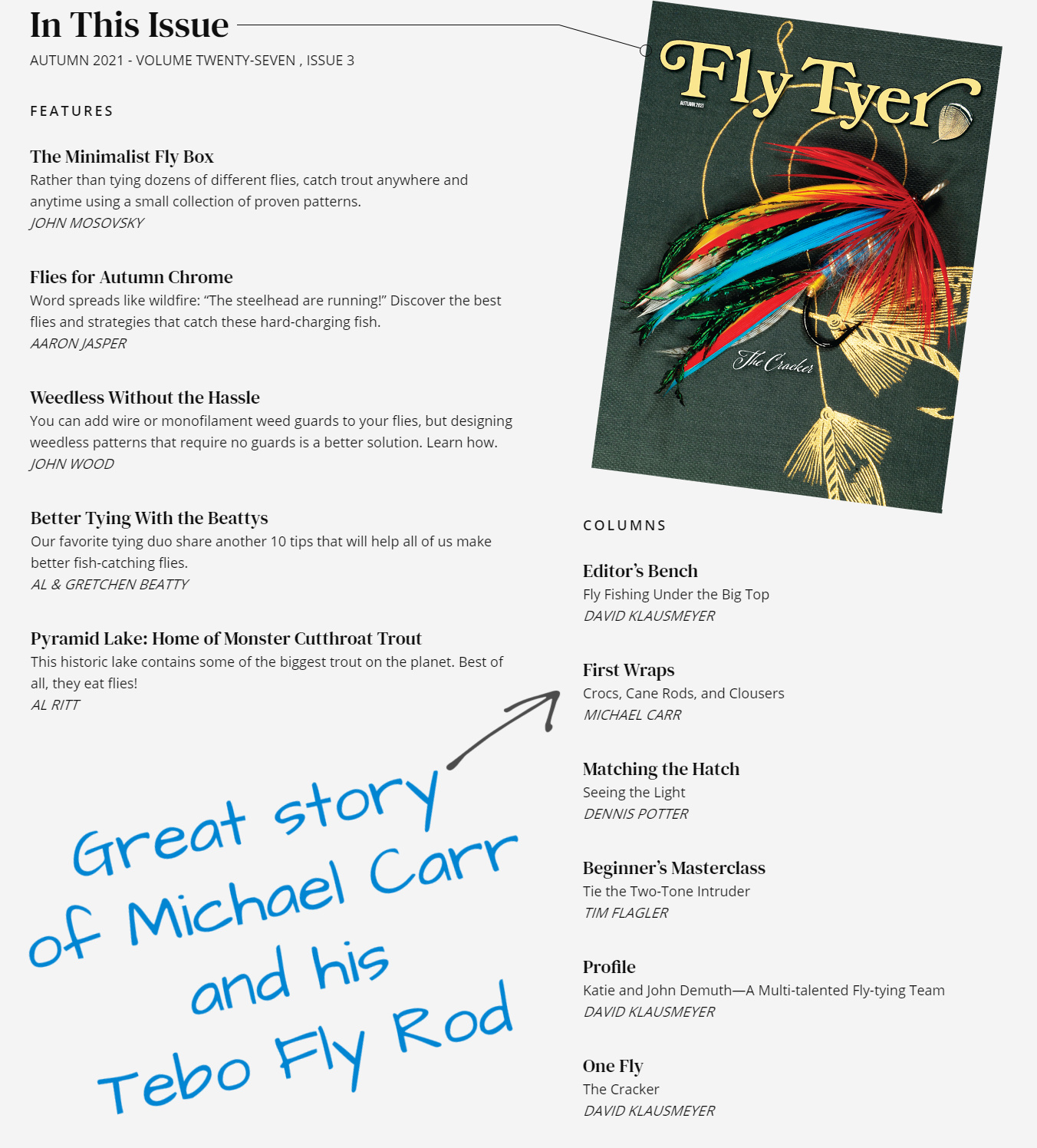 Tebo Rods Featured In Fly Tyer Magazine
